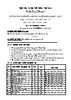 Đề thi tốt nghiệp cao đẳng nghề khóa 3 (2009 – 2012) - Nghề: Kỹ thuật chế biến món ăn - Môn thi: Thực hành nghề - Mã đề thi: KTCBMA – TH 30