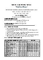 Đề thi tốt nghiệp cao đẳng nghề khóa 3 (2009 – 2012) - Nghề: Kỹ thuật chế biến món ăn - Môn thi: Thực hành nghề - Mã đề thi: KTCBMA – TH 17