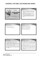 Kế toán chi phí - Chương 3: Kế toán các khoản ứng trước