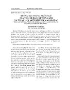 Những đặc trưng ngôn ngữ của tiêu đề báo chí tiếng Anh và tiếng Việt trên bình diện nghĩa học