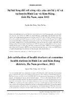 Sự hài lòng đối với công việc của cán bộ y tế xa tại huyện Bình Lục và Kim Bảng, tỉnh Hà Nam, năm 2012