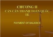Tài chính ngân hàng - Chương II: Cán cân thanh toán quốc tế