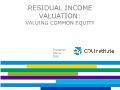 Tài chính ngân hàng - Residual income valuation: Valuing common equity
