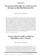 Tai nạn giao thông nhập viện và một số yếu tố liên quan tại tỉnh Bình Định năm 2011