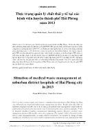 Thực trạng quản lý chất thải y tế tại các bệnh viện huyện thành phố Hải Phòng năm 2013