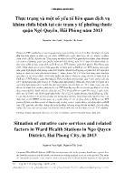 Thực trạng và một số yếu tố liên quan dịch vụ khám chữa bệnh tại các trạm y tế phường thuộc quận Ngô Quyền, Hải Phòng năm 2013