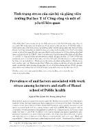 Tình trạng stress của cán bộ và giảng viên trường Đại học Y tế Công cộng và một số yếu tố liên quan