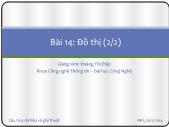 Bài giảng Cấu trúc dữ liệu và giải thuật - Bài 14: Đồ thị (2/2) - Hoàng Thị Điệp
