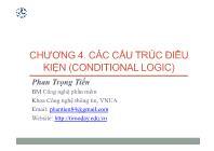 Bài giảng Công nghệ phần mềm - Chương 4: Các cấu trúc điều kiện (Conditional Logic) - Phan Trọng Tiến
