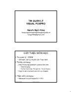 Giáo trình Tin quản lý Visual Foxpro - Bài 1: Tổng quan về hệ quản trị CSDL Visual Foxpro - Nguyễn Mạnh Hùng