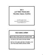 Giáo trình Tin quản lý Visual Foxpro - Bài 4: Lập trình trong môi trường Visual Foxpro - Nguyễn Mạnh Hùng