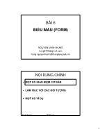 Giáo trình Tin quản lý Visual Foxpro - Bài 6: Biểu mẫu (Form) - Nguyễn Mạnh Hùng