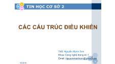 Tin học cơ sở 2 - Các cấu trúc điều khiển - Nguyễn Mạnh Sơn