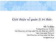 Bài giảng Giới thiệu về quản lý tri thức - Hồ Tú Bảo