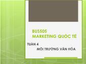 Bài giảng Marketing Quốc tế - Tuần 3: Môi trường văn hóa