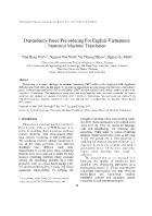 Dependency-Based Pre-ordering For English-Vietnamese Statistical Machine Translation