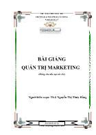 Giáo trình Quản trị Marketing - Nguyễn Thị Thúy Hằng