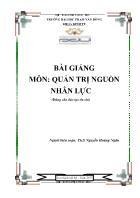 Giáo trình Quản trị nguồn nhân lực - Nguyễn Hoàng Ngân