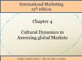 International Marketing - Chapter 4: Cultural Dynamics in Assessing global Markets
