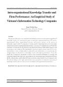 Intra-Organizational knowledge transfer and firm performance: An empirical study of Vietnam's information technology comp - Pham Thi Bich Ngoc
