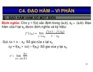 Bài giảng Toán kinh tế 1 - Chương 4: Đạo hàm - Vi phân - Nguyễn Ngọc Lam