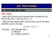 Bài giảng Toán kinh tế 1 - Chương 6: Tích phân - Nguyễn Ngọc Lam
