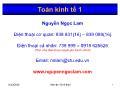 Giáo trình Toán kinh tế 1 - Chương 1: Ma trận - Nguyễn Ngọc Lam