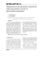 Optimization of the ultrasonic treatment for improving catalytic activity of glucoamylase preparation - Tran Thi Thu Tra