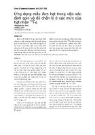 Ứng dụng mẫu đơn hạt trong việc xác định spin và độ chẵn lẻ ở các mức của hạt nhân Fe - Nguyễn An Sơn